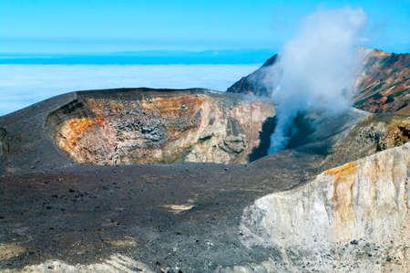 kuril: Ebeko  Volcano on Paramushir Island, Kuril Islands, Russia