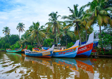 alleppey: Kerala, India - October 17: Indian fishing boats  in Kerala on October 17, 2014. Editorial