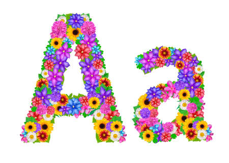 abloom: Flower alphabet isolated on white