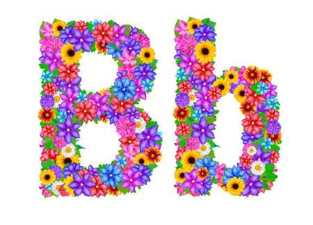 abloom: Flower alphabet isolated on white