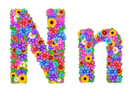 flower alphabet: Flower alphabet isolated on white