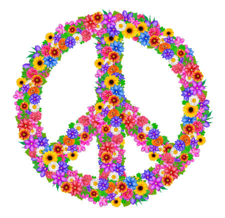 abloom: sign peace from flowers on white background. Stock Photo