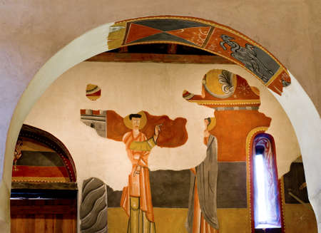 pantocrator: BOI, SPAIN - JULY 17, 2014: The paintings from Sant Joan in Boi make up what is considered one of the finest groups in Catalan Romanesque painting.Belongs to the UNESCO World Heritage Site. Editorial