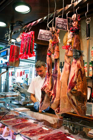 boqueria: BARCELONA, SPAIN - JULY 09, 2014: Famous La Boqueria market - one of the oldest markets in Europe. Editorial