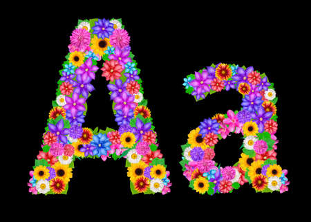 abloom: Flower alphabet isolated on black Stock Photo