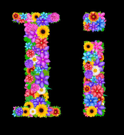 flower alphabet: Flower alphabet isolated on black Stock Photo