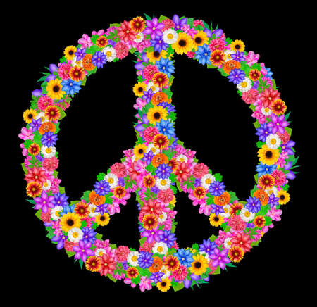 sign peace from flowers on black background. photo