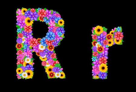 abloom: Flower alphabet isolated on black Stock Photo
