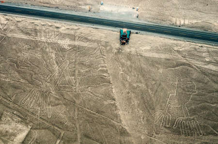 Geoglyphs and lines in the Nazca desert. photo