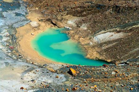 kuril: Lake at Ebeko  Volcano, Paramushir Island, Kuril Islands, Russia Stock Photo