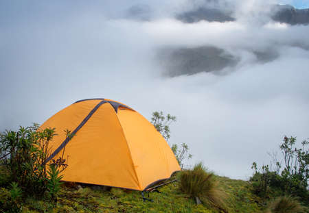 salkantay: Tent in the mountains,  Andes. Salkantay Trekking, Peru.