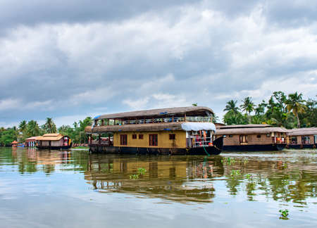 alappuzha: Traditional Indian houseboat near Alleppey  on Kerala backwaters , India