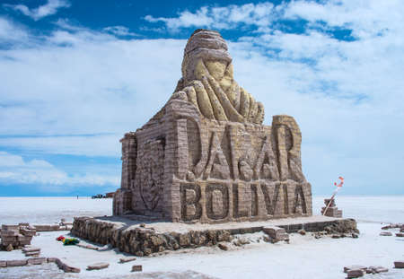 The Dakar Bolivia Monument in Salar de Uyuni, Bolivia