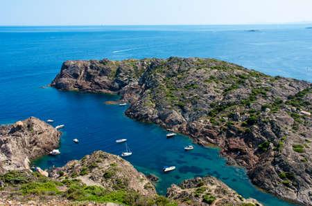 Coastline of the Costa Brava in The Cap de Creus, a natural park in the northern Costa Brava, Girona province, Catalonia, Spain.
