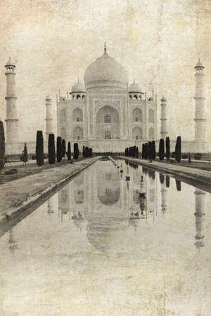 agra: Taj Mahal in Agra, India, vintage image