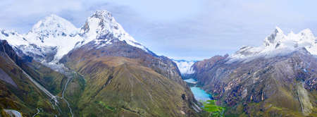 switchback: Cordillera Blanca - mountain Huascaran in Peru Stock Photo