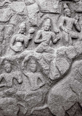 mamallapuram: Ancient basreliefs  and statues   in Mamallapuram, Tamil Nadu, India