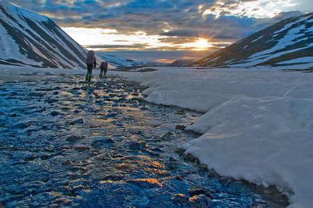 surmount: Trekking in  Polar Ural mountains Stock Photo