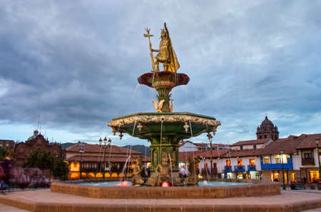 plaza de armas: Inca fountain in the Plaza de Armas of Cusco, Peru Stock Photo