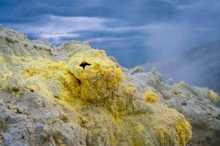 vulcanology: fumarolic field at the Mendeleev volcano at Kunashir island, Russia