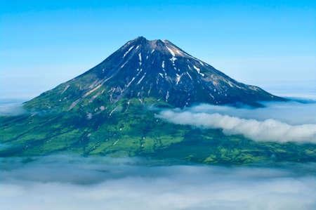 kuril: Fuss Peak Volcano, Paramushir Island, Kuril Islands, Russia Stock Photo