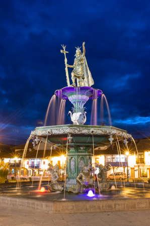 plaza de armas: Inca fountain in the Plaza de Armas of Cusco, Peru Stock Photo