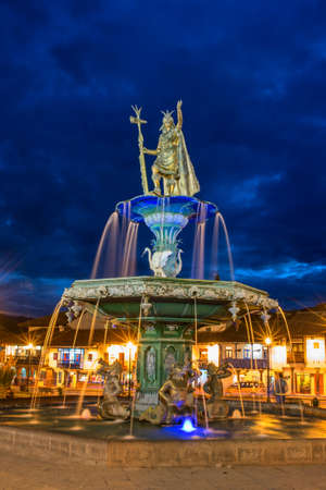 plaza de armas: CUSCO PERU-MARCH 18, 2015: Inca fountain in the Plaza de Armas of Cusco, Peru