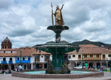plaza de armas: CUSCO PERU-MARCH 08, 2015: Inca fountain in the Plaza de Armas of Cusco, Peru