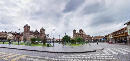 CUSCO PERU-MARCH 08, 2015: Plaza De Armas and Iglesia de la Compania, Cusco, Peru Editorial