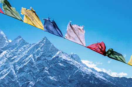 tourism: Buddhist prayer flags in the Himalaya mountains, in Nepal