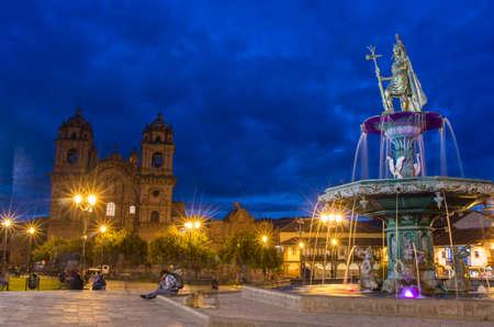 cusco: CUSCO PERU-MARCH 18, 2015: Inca fountain in the Plaza de Armas of Cusco, Peru