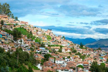 inca architecture: Cityscape of Cusco in Peru Stock Photo