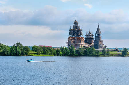 onega: Wooden church on island Kizhi. Lake Onega, Russia
