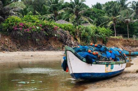 tamil nadu: Fishing boats beached along the coast  in Mamallapuram, Tamil Nadu, India