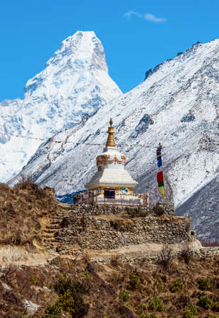 sherpa: Stupa on the way to Everest Base Camp in Himalayas, Nepal Stock Photo