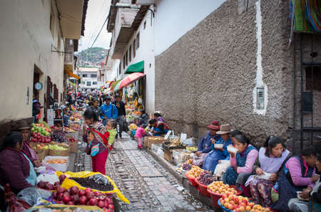 pisac: CUSCO, PERU - CIRCA MARCH  2015: Unidentified people at the market in Cusco, Peru