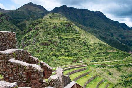 pisaq: Pisac - Inca ruins in the sacred valley in the Peruvian Andes, Peru