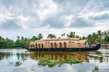 alappuzha: Traditional Indian houseboat near Alleppey  on Kerala backwaters, India