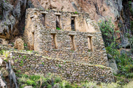 pisaq: Ollantaytambo - old Inca fortress in the Sacred Valley in Andes, Cusco, Peru