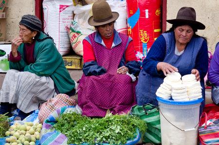 peru: CUSCO, PERU - CIRCA MARCH  2015: Unidentified people at the market in Cusco, Peru