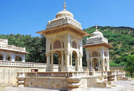 crematorium: Maharaja Sawai Mansingh II, museum trust the city palace . Gatore Ki Chhatriyan, Jaipur, Rajasthan, India. Editorial