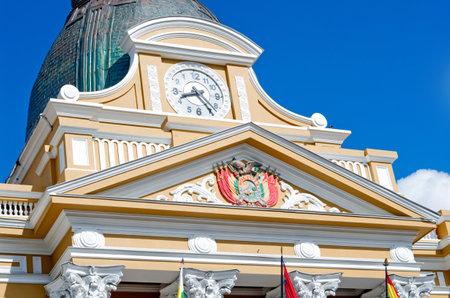 palacio: Clock on Bolivian Palace of Government (Palacio Quemado) in La Paz, Bolivia