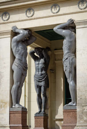 telamon: Granite Atlantes (telamons) at New Hermitage museum in Saint Petersburg, Russia