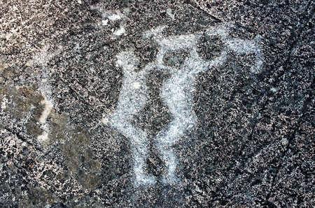 karelia: Rock paintings (petroglyphs) of Zalavruga. Karelia, Russia Stock Photo