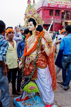 shakti: VARANASI, INDIA-03 OCT, 2014: An annual Hindu festival in South Asia that celebrates worship of the Hindu goddess Durga at Dashashwamedh Ghat on the banks of the river Ganges in Varanasi
