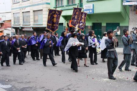 procession: LA PAZ, BOLIVIA - APR 03, 2015: Good Friday procession in La Paz, Bolivia.