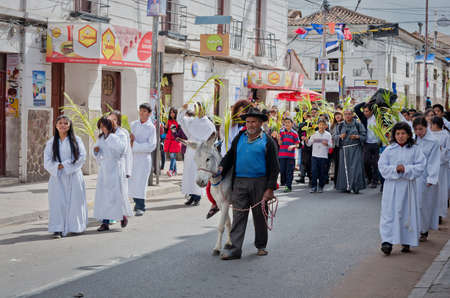 palm sunday: SUCRE, BOLIVIA - MARCH 29: Participants of the Catholic feast of Palm Sunday on the street on March 29, 2015 in Sucre, Bolivia Editorial
