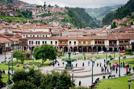 plaza de armas: CUZCO, PERU-MARCH 08, 2015: View of  Plaza De Armas in Cusco, Peru Editorial