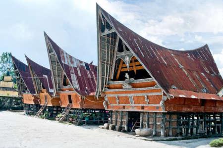Traditional Batak house on the Samosir island, North Sumatra, Indonesia Banque d'images