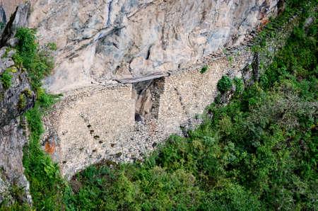 Inca bridge in Machu Picchu in Peru.